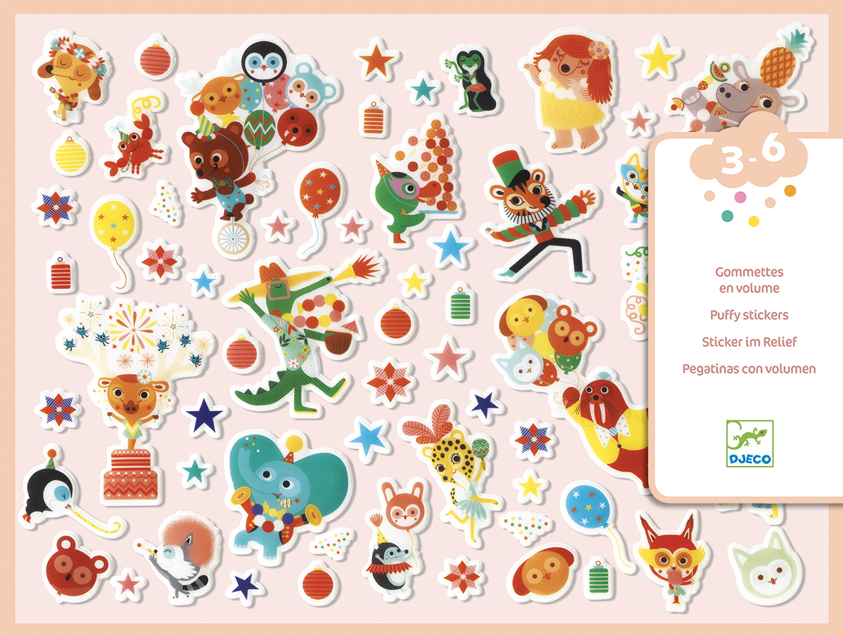 Party Themed Puffy Stickers from Djeco