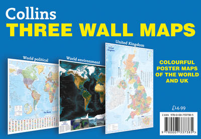 Collins Three Wall Maps: Colourful Poster Maps Of The World ...